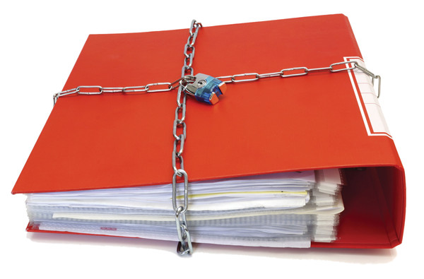 concept of protected documents with chain and file folder
