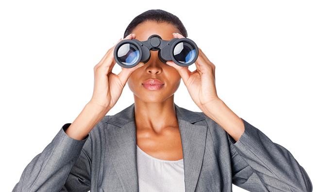 Businesswoman Looking Through Binoculars - Isolated