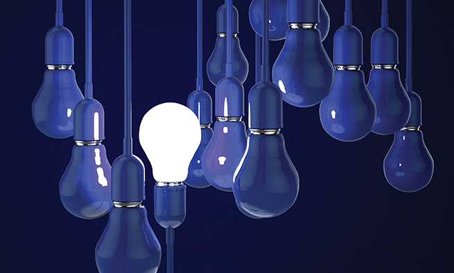 creative idea and leadership concept with 3d blue light bulb