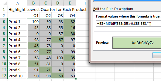 Excel: Array Formulas in Conditional Formatting