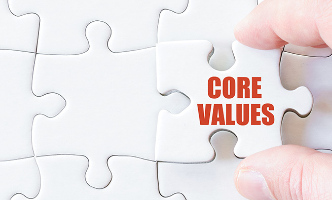 Missing jigsaw puzzle piece with words  CORE VALUES. Business concept image for completing the puzzle.