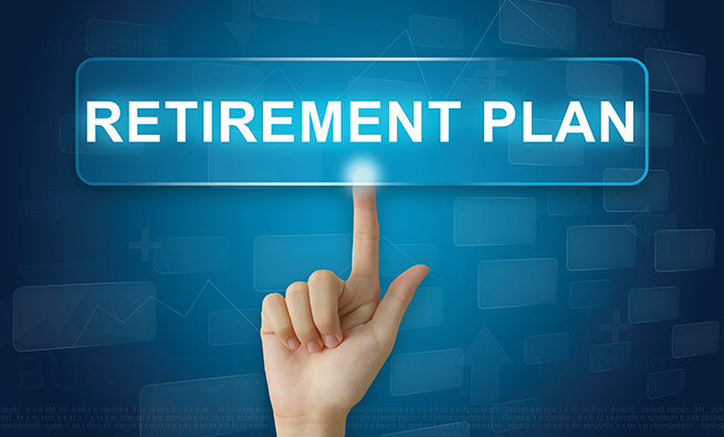 hand press on retirement plan button on virtual screen