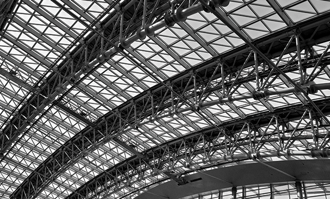 metal roof construction of airport