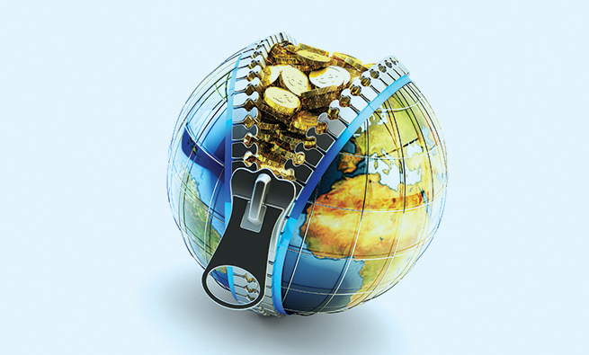 Earth globe with zipper full of gold coins isolated on white