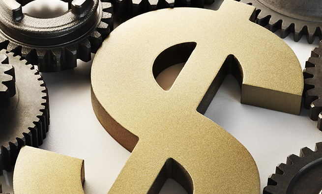 A gold dollar sign is surrounded by interlocking gears of various sizes.  Image represents the concepts of connectivity and globalization in today's financial markets.