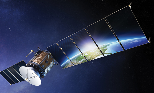 Satellite communications with earth reflecting in solar panels ( Elements of this 3d  image furnished by NASA)