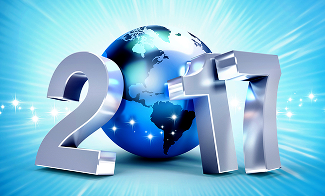2017 New Year type composed with a blue planet earth, on a shiny blue background - 3D illustration
