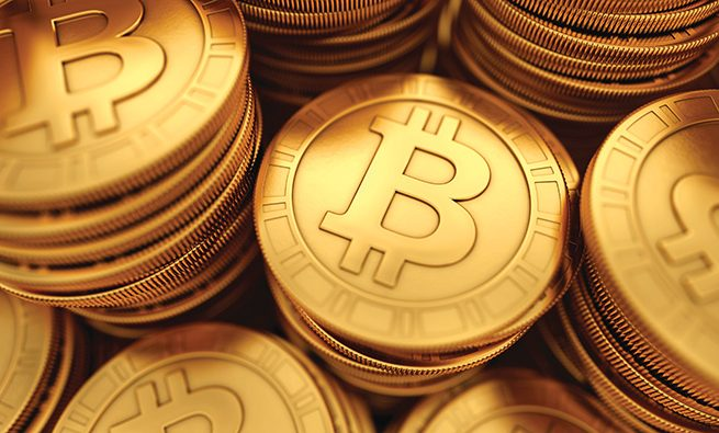 3D rendered close up illustration of paneled golden Bitcoins group with depth of field blur