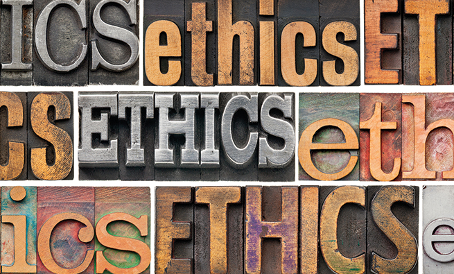 ethics concept - a collage of 9 isolated words in different vintage letterpress metal and wood types