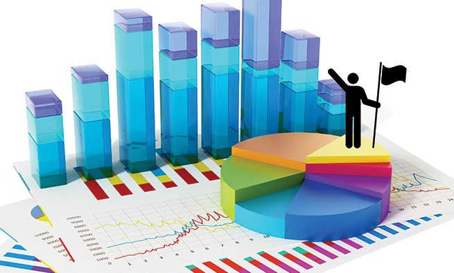 Financial charts, graphs, bars and pie chart isolated on white.