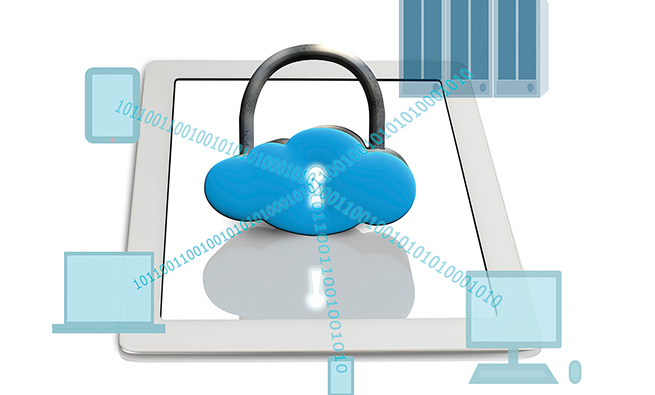 Cloud shape lock on tablet with computing devices white background