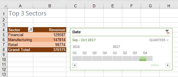 Excel Creating Tables From Timeline Slicers Strategic Finance