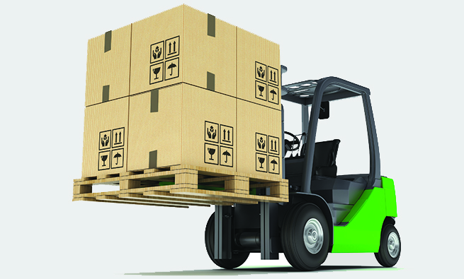 Forklift with Pallet and Cardboard Boxes