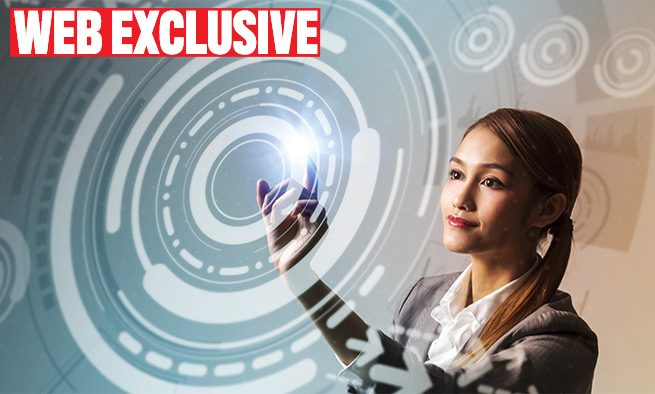 young woman and futuristic graphical user interface concept