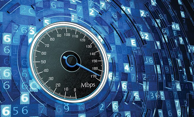 Speedometer dial on blue background with digital code data
