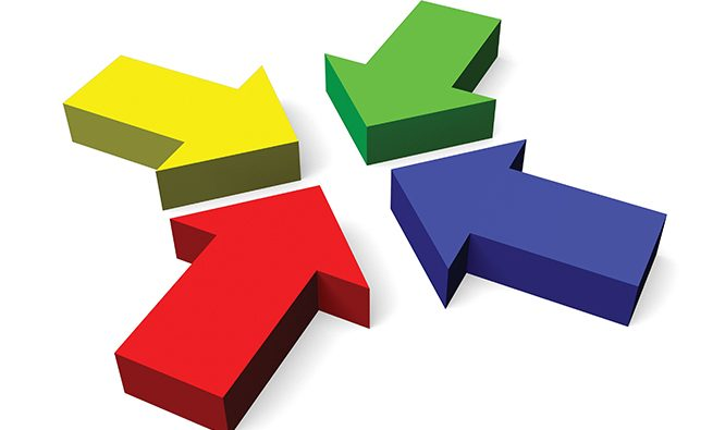 Four colorful arrows on white background - great for topics like teamwork, togetherness, success etc.